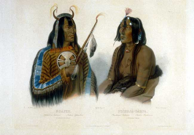 Plate 12. Noápeh. An Assinboin Indian. Psíhdja-Sáhpa. A Yanktonan Indian,  Image number:4-22-VonWied