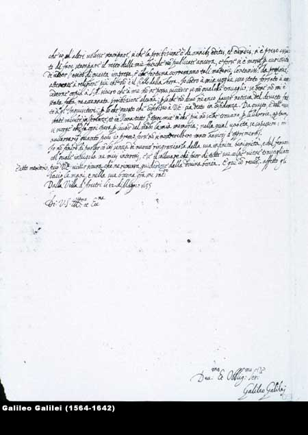 Signed letter from Galileo to French astronomer Nicolas Peirsec, May 12, 1635,  Image number:4-30a-galileo