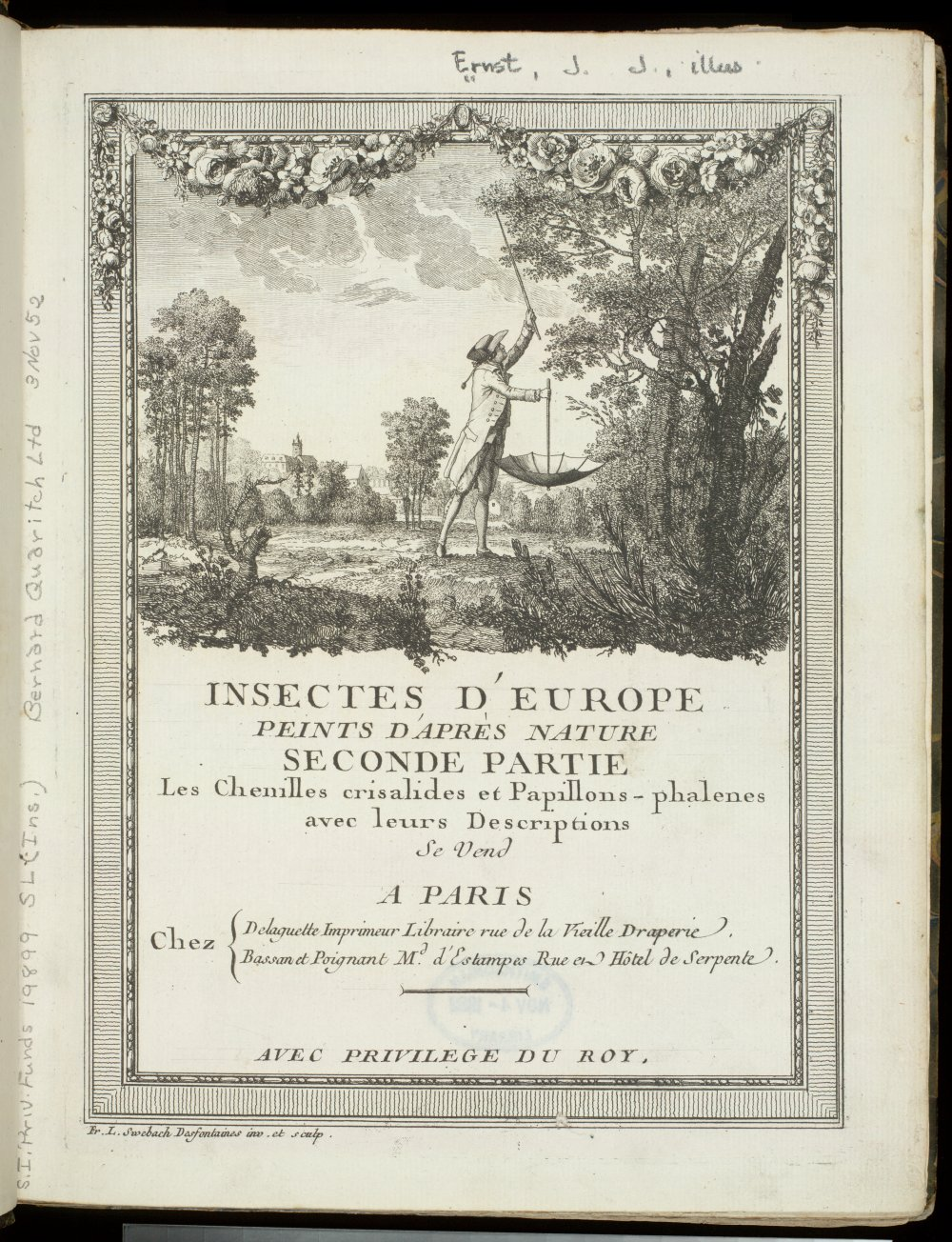 Title page and frontispiece showing collecting instruments, including umbrella,  Image number:SIL21-01-001