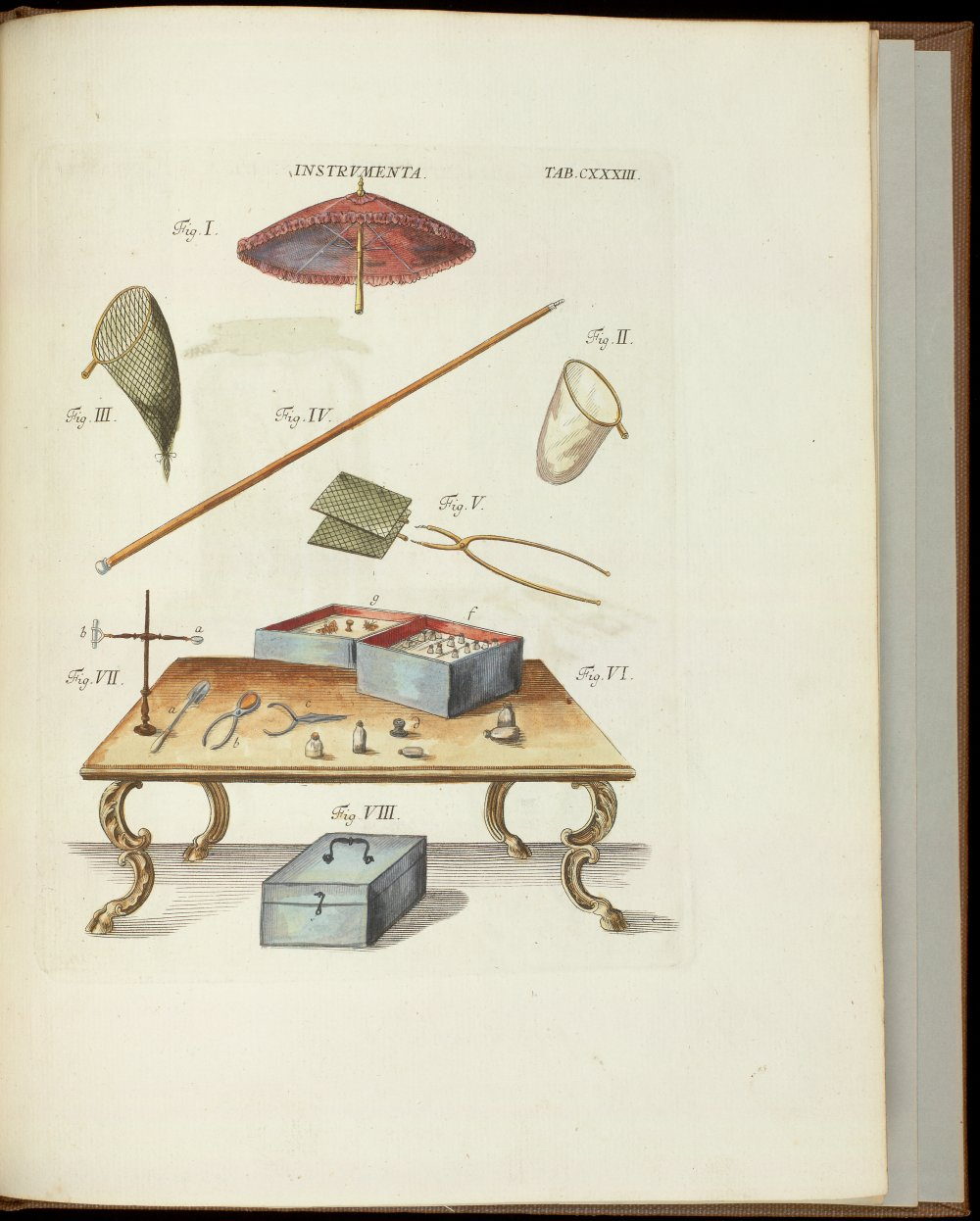 Tab. CXXXIII: Collecting instruments, including umbrella,  Image number:SIL21-03-002