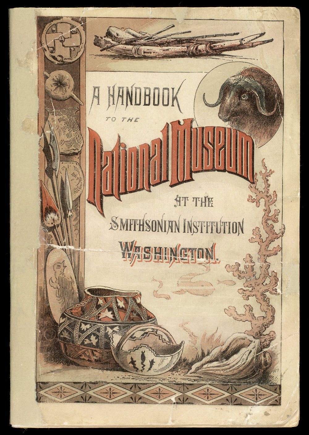Front cover, Smithsonian National Museum guidebook, showing anthropological artifacts and biological specimens,  Image number:SIL21-04-001