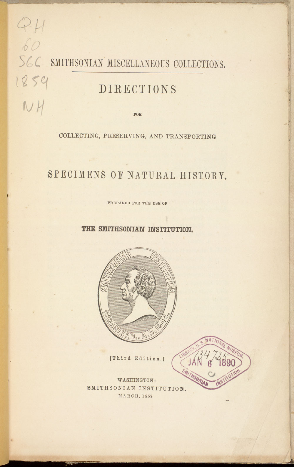 Title page, showing Smithsonian seal with portrait of James Smithson,  Image number:SIL21-11-001