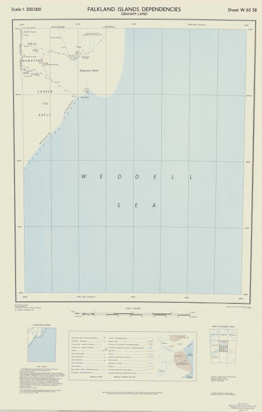 Map of Falkland Islands Dependencies, Graham Land