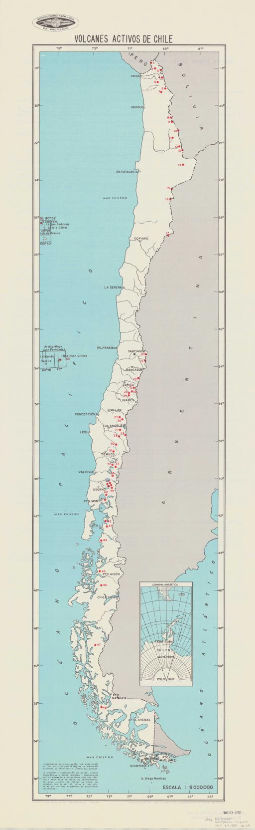 Map of Volcanes Activos de Chile