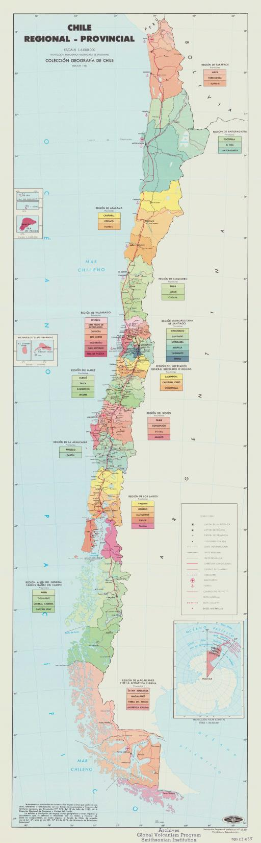 Map of Chile Regional-Provincial