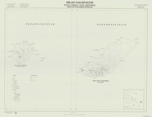 Map of Santa Maria & San Cristobal, Islas Galapagos
