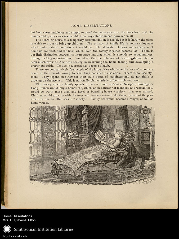 A Victorian wife and mother  finds a bit of rest and relaxation in the library.,  Image number:sil7-92-01a