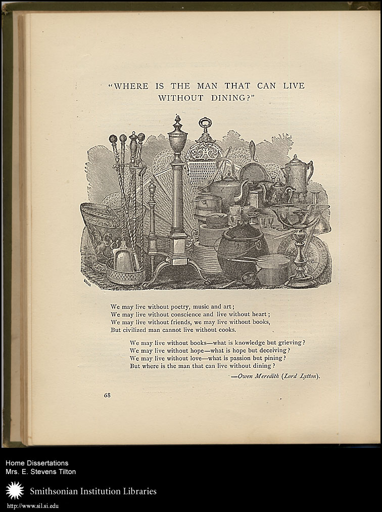 An assemblage of household necessities is followed by a poem emphasizing the importance of fine meals.,  Image number:sil7-92-05a