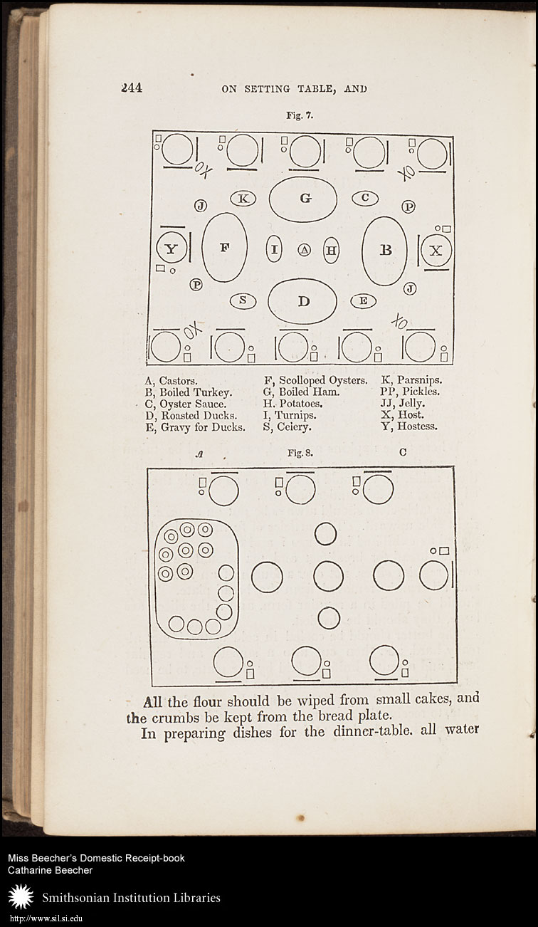 Here, Beecher not only diagrammed proper place settings, but an appropriate menu as well.,  Image number:sil7-95-05a