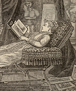 A Victorian wife and mother  finds a bit of rest and relaxation in the library.