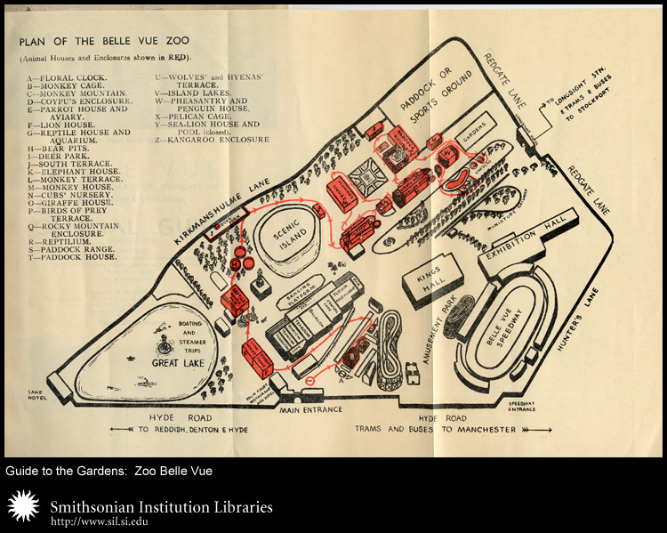 Plan of the Belle Vue Zoo includes an amusement park and speedway.,  Image number:sil24-037-01