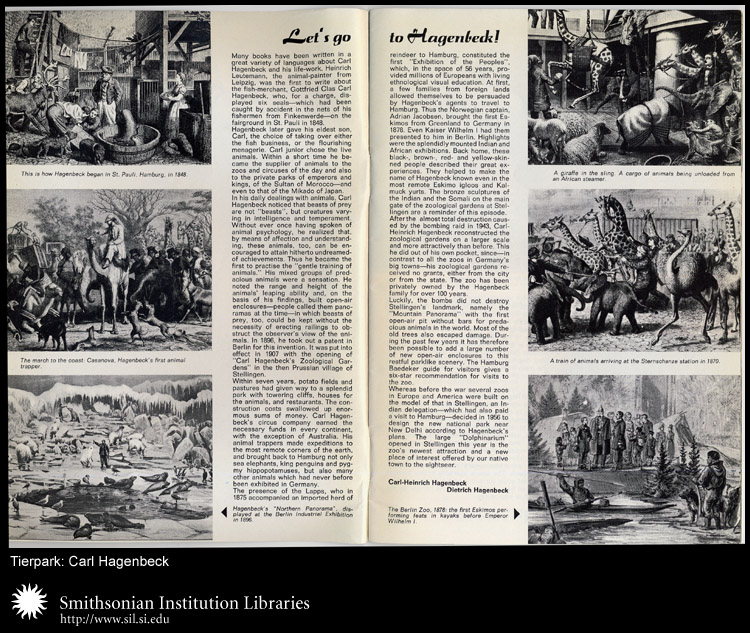 Two page spread of animals at the Hagenbeck Zoological Garden.,  Image number:sil24-043-01